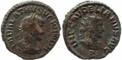 Ancient Coins - Roman coin of Vabalathus and Aurelian AE silvered Antoninianus - VABALATHVS VCRIM DR