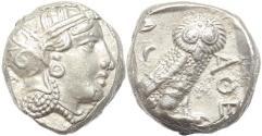 Ancient Coins - Attica Athens AR silver Tetradrachm - Intermediate Style - circa 300-262 BC