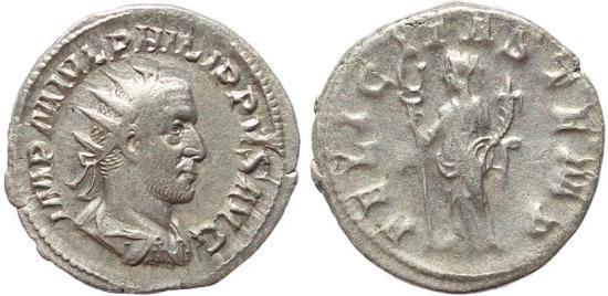 Ancient Coins - Roman coin of Philip I AR silver antoninianus - FELICITAS TEMP