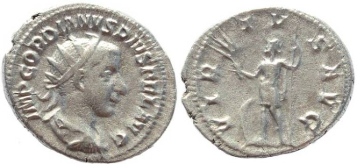 Ancient Coins - Gordian III AR silver antoninianus - VIRTVS AVG