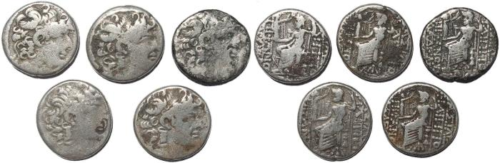 Ancient Coins - Group of 5 Seleukid Kingdom Philip I Philadelphos AR tetradrachms