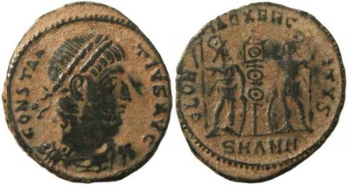 Ancient Coins - Constantius II-  GLORIA EXERCITVS - Antioch Mint