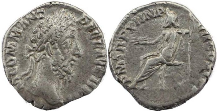 Ancient Coins - Commodus AR denarius - P M TR P XI IMP VII COS V P P