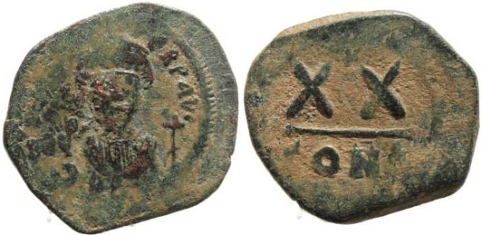 Ancient Coins - Byzantine coin of Phocas - Half follis - Constantinople