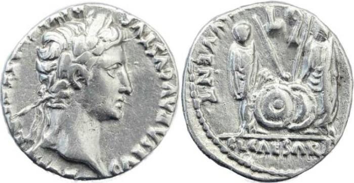Ancient Coins - Augustus 27BC-14AD AR Denarius - Lugdunum (Lyon) mint - Minted 2BC-4AD