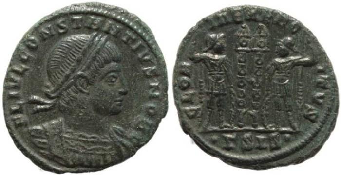 Ancient Coins - Roman coin of Constantius II - GLORIA EXERCITVS - Siscia