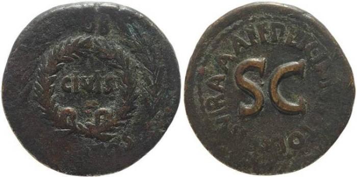 Ancient Coins - Augustus Æ Sestertius Rome mint - Struck 17 BC. P. Licinius Stolo, moneyer