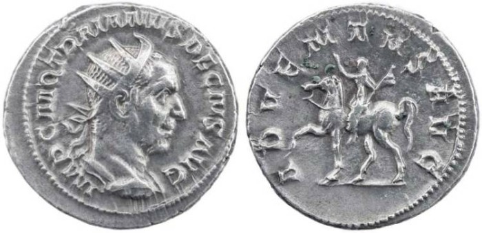 Ancient Coins - Trajan Decius billion antoninianus - ADVENTVS AVG