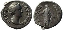 Ancient Coins - Faustina Senior silver denarius 138-141AD - AETERNITAS