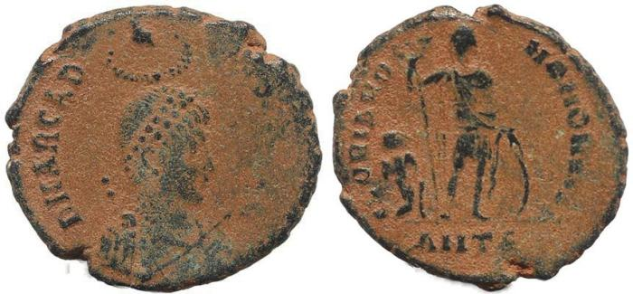 Ancient Coins - Roman coin of Arcadius Ae2 - GLORIA ROMANORVM - Antioch Mint