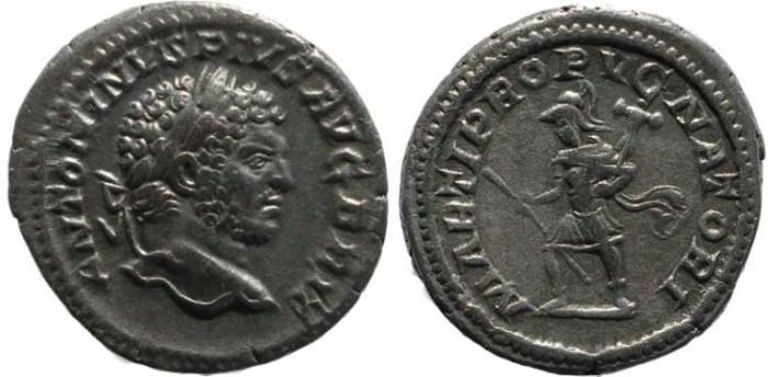 Ancient Coins - Caracalla AR Denarius - MARTI PROPVGNATORI - RIC 223