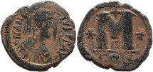 Ancient Coins - Byzantine Empire - Anastasius I AE Follis - Constantinople, 491-518 AD