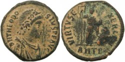 Ancient Coins - Theodosius I - VIRTVS EXERCITI - Antioch Mint - 22mm 6.0 grams
