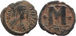 Ancient Coins - Byzantine Empire - Anastasius I AE Follis - Constantinople, 491-518 AD