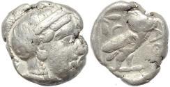 Ancient Coins - Attica Athens AR silver Tetradrachm - Crab countermark
