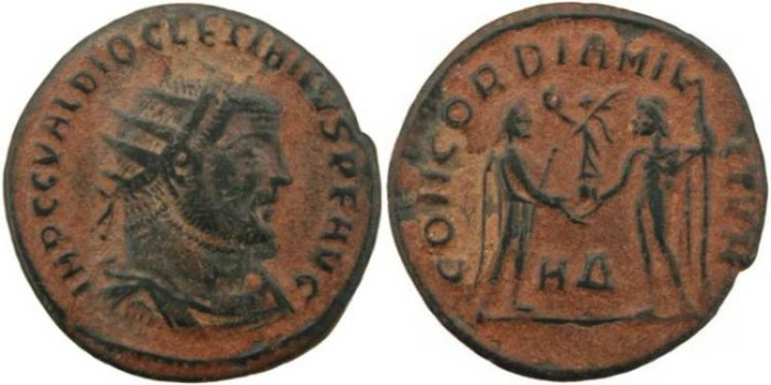 Ancient Coins - Diocletian 284-305AD CONCORDIA MILITVM - Heraclea Mint
