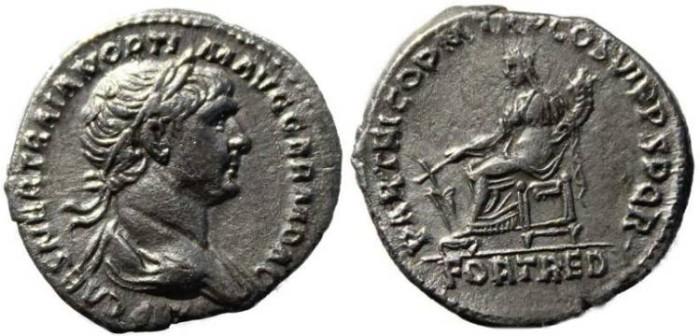 Ancient Coins - Trajan silver denarius 98-117AD - Fortuna