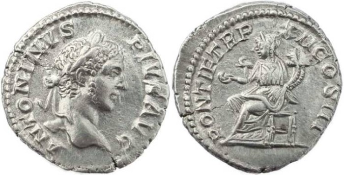 Ancient Coins - Caracalla Denarius - PONTIF TR P XII COS III, - RIC 111, RSC 465, BMC 10