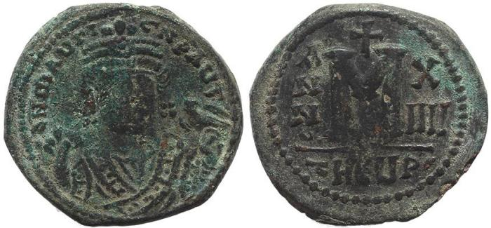 Ancient Coins - Byzantine coin of Maurice Tiberius AE Follis - Antioch - Year 14