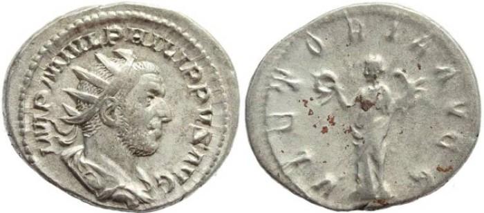 Ancient Coins - Philip I AR Silver antoninianus - VICTORIA AVGG