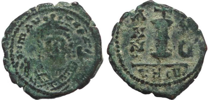 Ancient Coins - Byzantine coin of Maurice Tiberius AE Decanummium - Antioch - Year 5