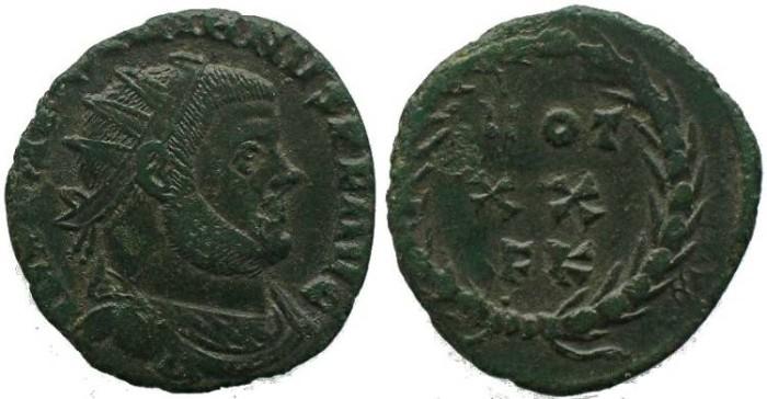 Ancient Coins - Maximianus as Augustus AE Post-reform Radiate / Votive wreath