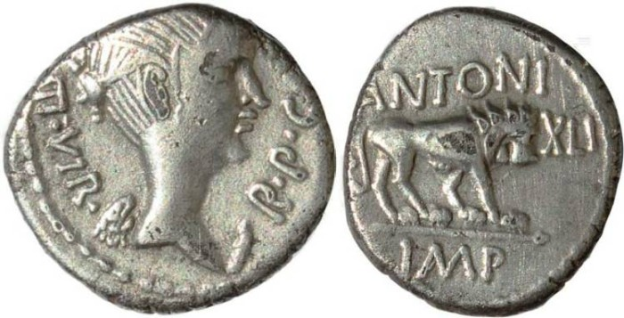 Ancient Coins - Beautiful Fulvia quinarius - First wife of Marc Antony - RSC 3, Syd 1163, Cr489/6