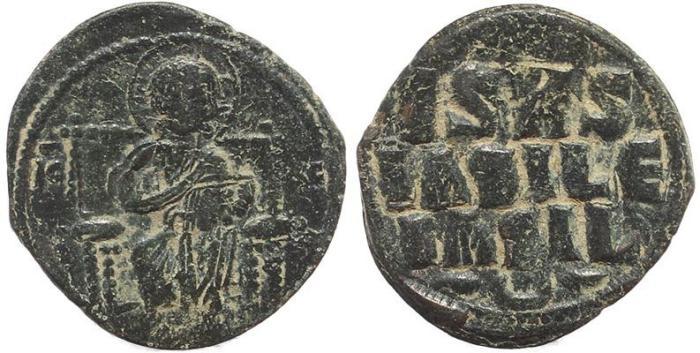 Ancient Coins - Byzantine coin of Constantine IX Ae 27 follis - Jesus Christ