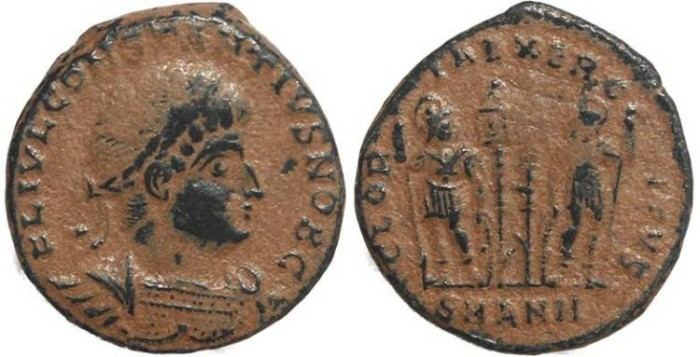 Ancient Coins - Roman coin of Constantius II - GLORIA EXERCITVS - Antioch Mint