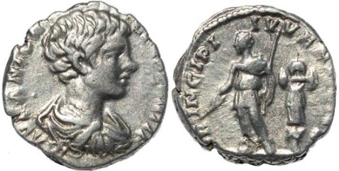 Ancient Coins - Caracalla AR silver denarius - PRINCIPI IVVENTVTIS