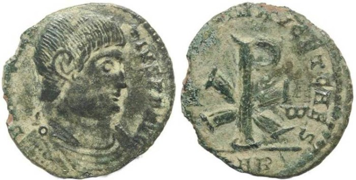 Ancient Coins - Magnentius AE 20 - SALVS DD NN AVG ET CAES - Christogram