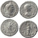 Ancient Coins - Two Roman silver denarius of Caracalla and Julia Domna