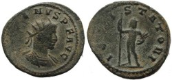 Ancient Coins - Gallienus Antoninianus - IOVI STATORI - strike failure