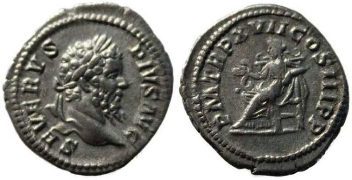 Ancient Coins - Septimius Severus silver denarius 193-211AD - Salus feeding snake