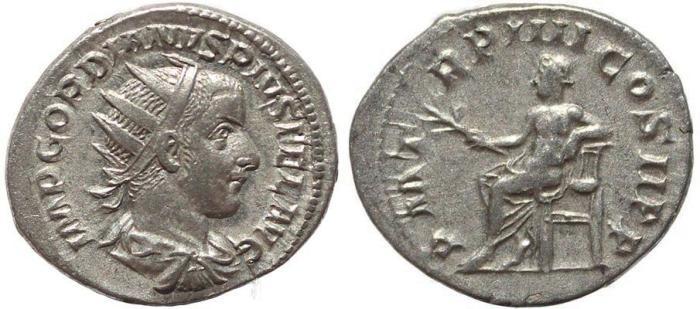 Ancient Coins - Roman coin of Gordian III AR silver antoninianus - PM TR P IIII COS II PP