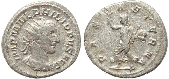 Ancient Coins - Roman coin of Philip I AR silver antoninianus - PAX AETERNA