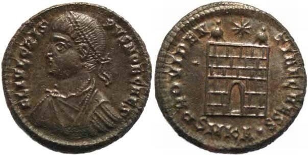 Ancient Coins - Crispus Ae follis struck 325-326AD Cyzicus