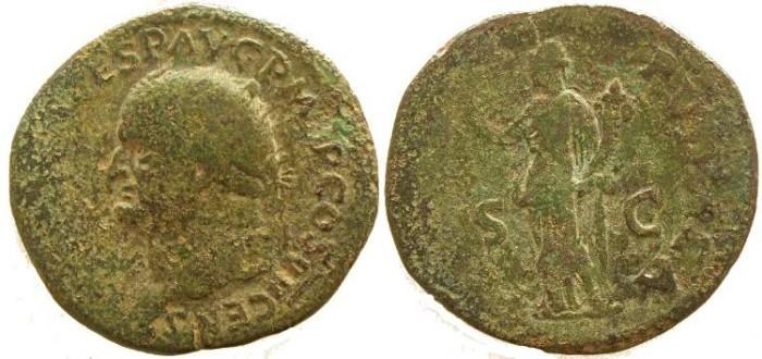Ancient Coins - Vespasian AE Dupondius - FELICITAS PVBLICA