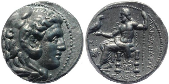 Ancient Coins - Alexander III Tetradrachm struck by Seleukos I - Babylon Mint - Beautiful high obverse relief