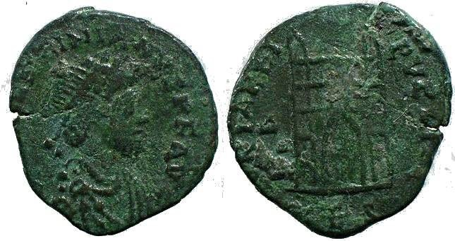 Ancient Coins - Valentinian II campgate Thessalonica mint