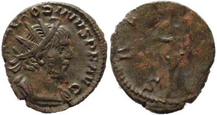 Ancient Coins - Victorinus silvered Antoninianus -  SALVS AVG