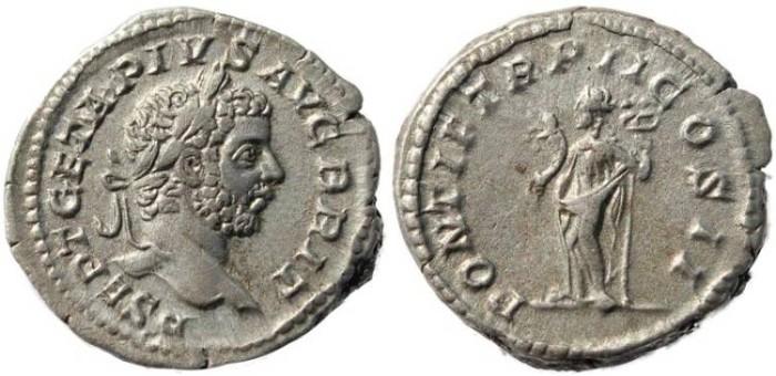Ancient Coins - Geta AR Denarius - PONTIF TR P II COS II