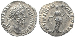 Ancient Coins - Roman coin of Commodus AR silver denarius - PM TRP XIII IMP VIII COS V PP
