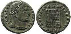 Ancient Coins - Constantine I part silvered Ae follis - PROVIDENTIAE AVGG - Cyzicus