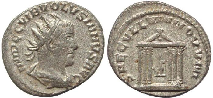 Ancient Coins - Roman coin of Volusian AR silver antoninianus - SAECVLLVM NOVVM