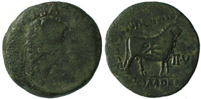 Ancient Coins - Augustus Æ29 of Lepida-Celsa, Spain - Countermarked