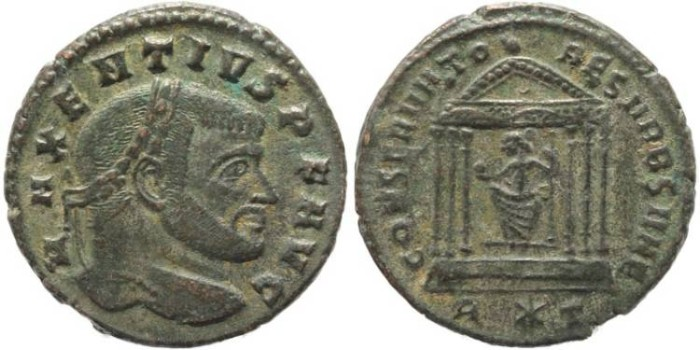 Ancient Coins - Silvered Ancient Roman coin of Maxentius - CONSERVATORES VRB SVAE - Rome
