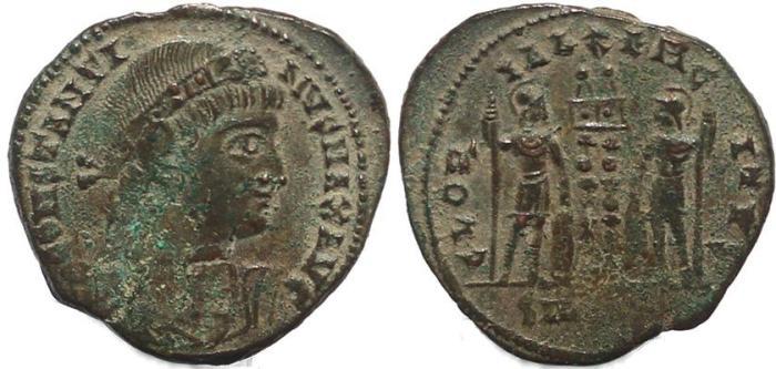 Ancient Coins - Roman coin of Constantine I - GLORIA EXERCITVS