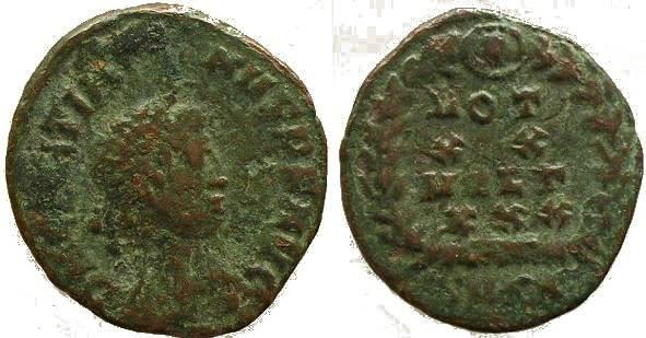Ancient Coins - Roman coin of Gratian Ae4 - VOT XX MVLT XXX
