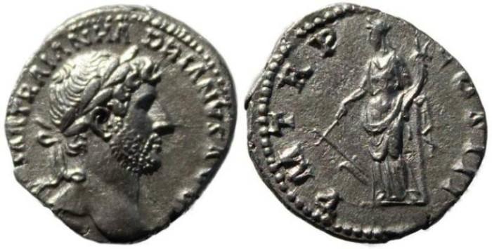 Ancient Coins - Hadrian Silver Denarius  117-138 AD - Fortuna